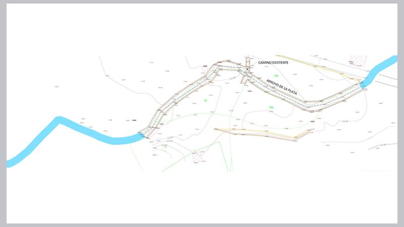 035 AIEH Topografia para Hidrologico, arroyo, Permiso, licencia, cauce, avenida ordinaria, calculo, confederacion, Puente, paso, Ponton, camino, elevacion, desborde, inund